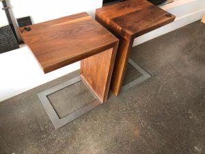 Crawley Black Walnut End Table with steel base