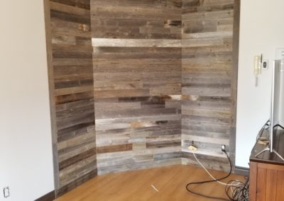 Gray barn wood living room wall