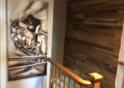 Montée d'escalier sur 2 étages en bois de grange brun