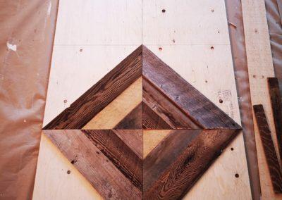 Sliding doors in brown barn wood