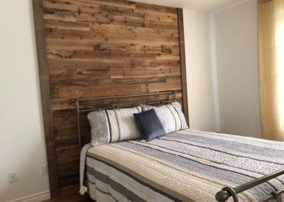 Brown barn wood bedroom wall