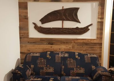 Brown barn wood wall with wooden frame